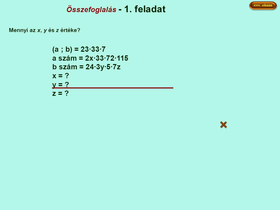 Összefoglalás - 1. feladat (a ; b) = 23·33·7 a szám = 2x·33·72·115 b szám = 24·3y·5·7z x = ? y = ? z = ? Mennyi az x, y és z értéke?