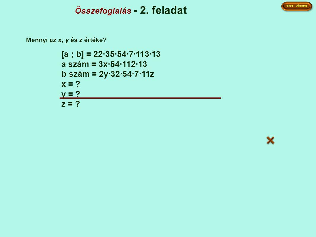 Összefoglalás - 2. feladat [a ; b] = 22·35·54·7·113·13 a szám = 3x·54·112·13 b szám = 2y·32·54·7·11z x = ? y = ? z = ? Mennyi az x, y és z értéke?