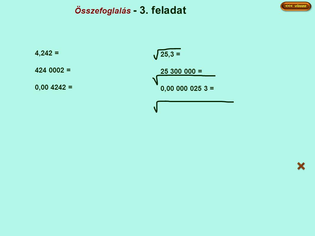 Összefoglalás - 3. feladat 4,242 = 424 0002 = 0,00 4242 = 25,3 = 25 300 000 = 0,00 000 025 3 =