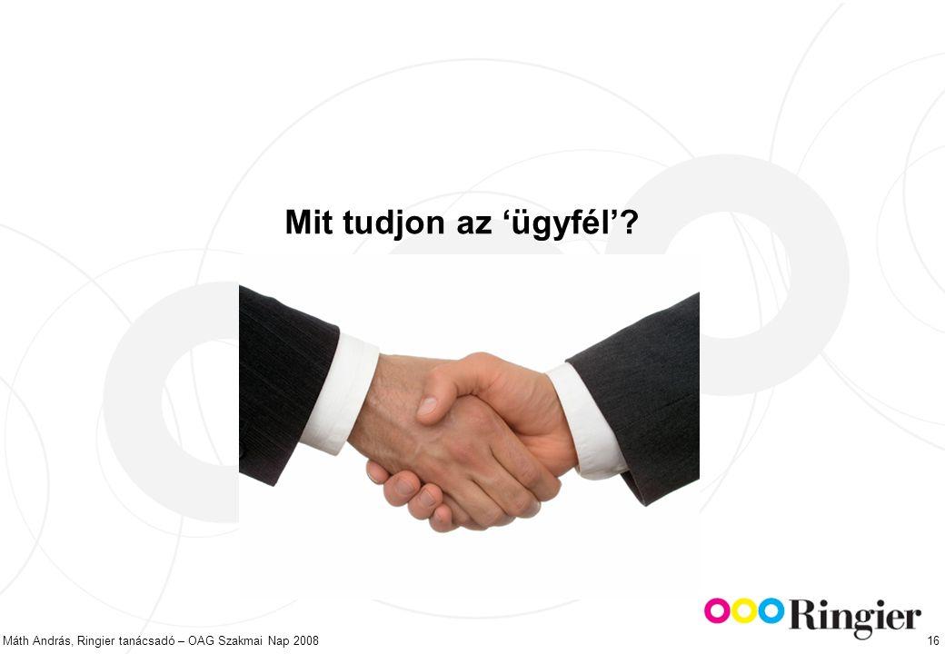 Máth András, Ringier tanácsadó – OAG Szakmai Nap 2008 16 Mit tudjon az 'ügyfél'