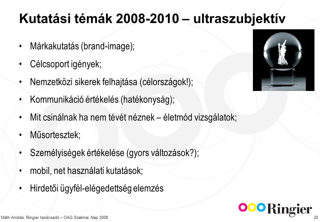 Máth András, Ringier tanácsadó – OAG Szakmai Nap 2008 20 Kutatási témák 2008-2010 – ultraszubjektív Márkakutatás (brand-image); Célcsoport igények; Nemzetközi sikerek felhajtása (célországok!); Kommunikáció értékelés (hatékonyság); Mit csinálnak ha nem tévét néznek – életmód vizsgálatok; Műsortesztek; Személyiségek értékelése (gyors változások ); mobil, net használati kutatások; Hirdetői ügyfél-elégedettség elemzés