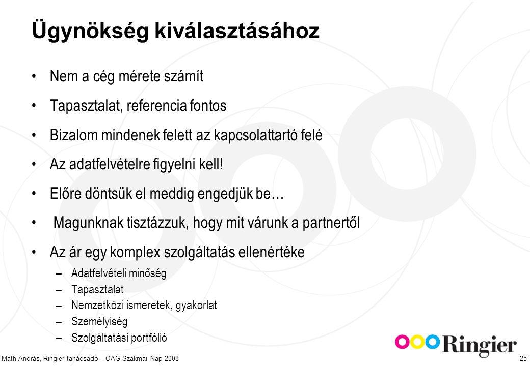 Máth András, Ringier tanácsadó – OAG Szakmai Nap 2008 25 Ügynökség kiválasztásához Nem a cég mérete számít Tapasztalat, referencia fontos Bizalom mindenek felett az kapcsolattartó felé Az adatfelvételre figyelni kell.