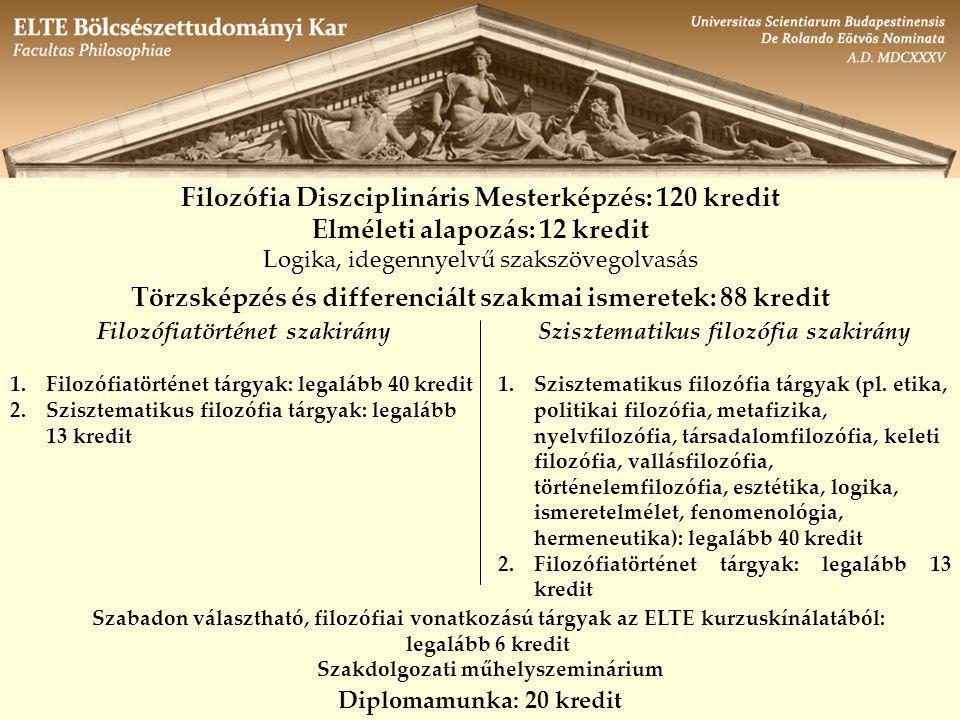 Filozófia Diszciplináris Mesterképzés: 120 kredit Elméleti alapozás: 12 kredit Logika, idegennyelvű szakszövegolvasás Törzsképzés és differenciált szakmai ismeretek: 88 kredit Filozófiatörténet szakirány 1.Filozófiatörténet tárgyak: legalább 40 kredit 2.Szisztematikus filozófia tárgyak: legalább 13 kredit Szisztematikus filozófia szakirány 1.Szisztematikus filozófia tárgyak (pl.