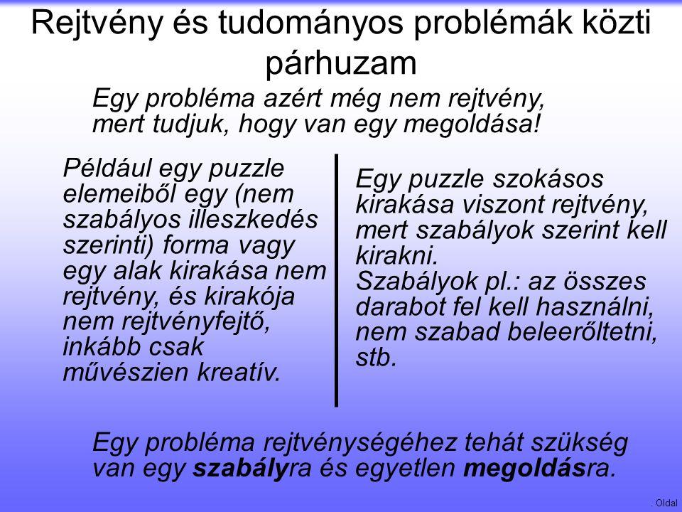 Rejtvény és tudományos problémák közti párhuzam. Oldal Egy puzzle szokásos kirakása viszont rejtvény, mert szabályok szerint kell kirakni. Szabályok p