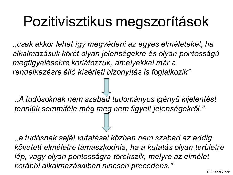 Pozitivisztikus megszorítások 109. Oldal 2.bek.,,csak akkor lehet így megvédeni az egyes elméleteket, ha alkalmazásuk körét olyan jelenségekre és olya