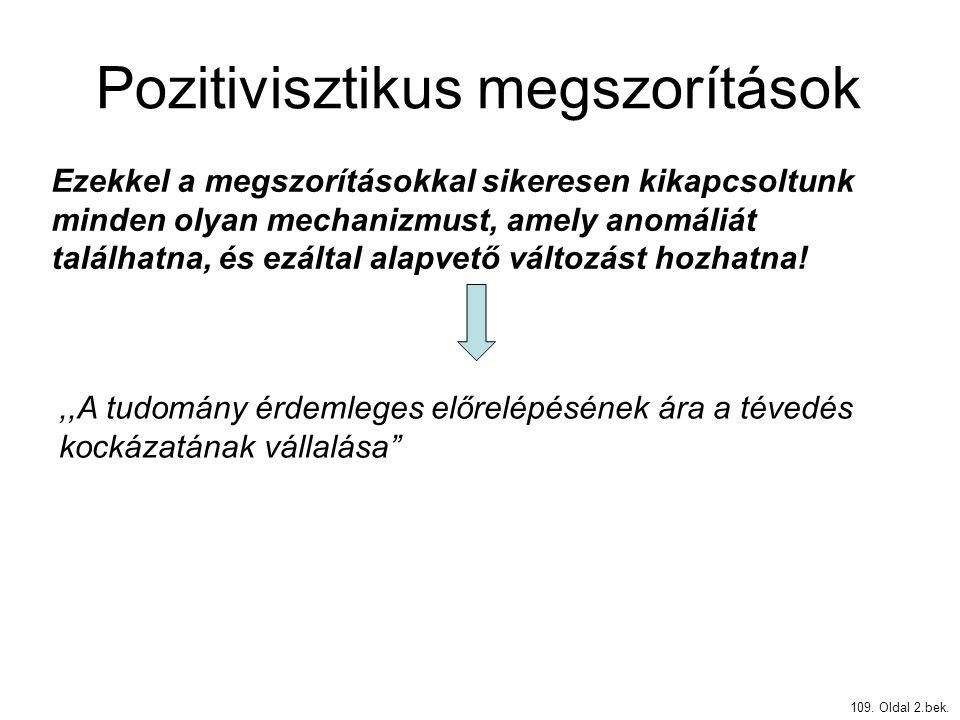 Pozitivisztikus megszorítások 109. Oldal 2.bek. Ezekkel a megszorításokkal sikeresen kikapcsoltunk minden olyan mechanizmust, amely anomáliát találhat