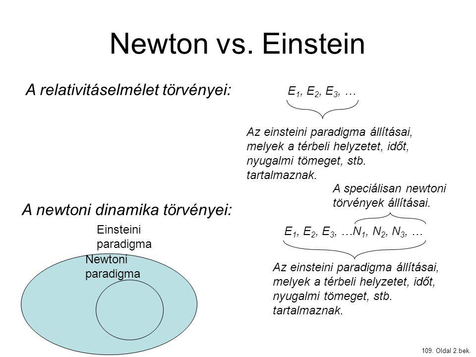 Newton vs. Einstein 109. Oldal 2.bek. A relativitáselmélet törvényei: E 1, E 2, E 3, … A newtoni dinamika törvényei: E 1, E 2, E 3, …N 1, N 2, N 3, …