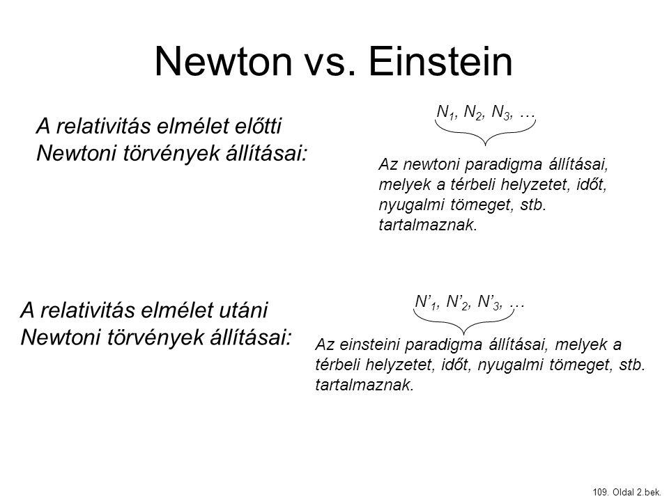 Newton vs. Einstein 109. Oldal 2.bek. A relativitás elmélet előtti Newtoni törvények állításai: N 1, N 2, N 3, … Az newtoni paradigma állításai, melye