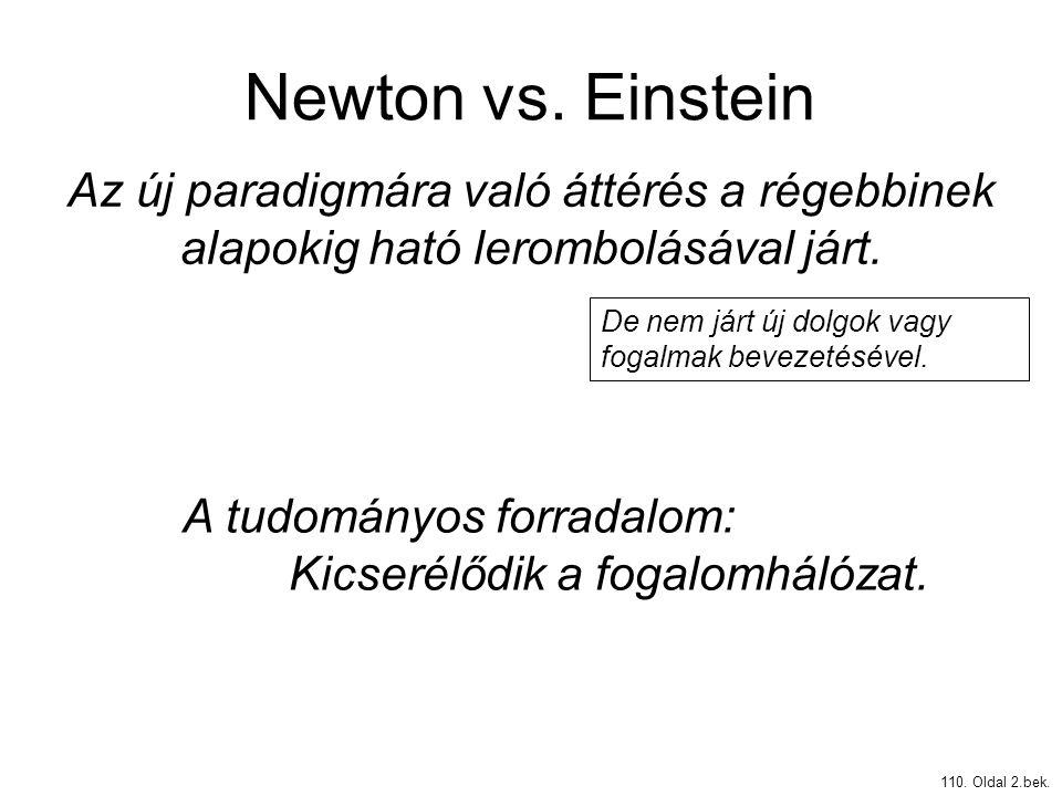 Newton vs. Einstein 110. Oldal 2.bek. Az új paradigmára való áttérés a régebbinek alapokig ható lerombolásával járt. De nem járt új dolgok vagy fogalm