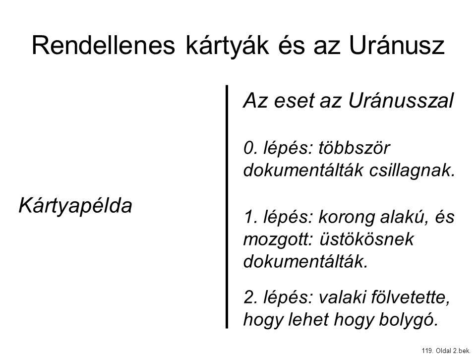 Rendellenes kártyák és az Uránusz 119. Oldal 2.bek. Kártyapélda Az eset az Uránusszal 0. lépés: többször dokumentálták csillagnak. 1. lépés: korong al