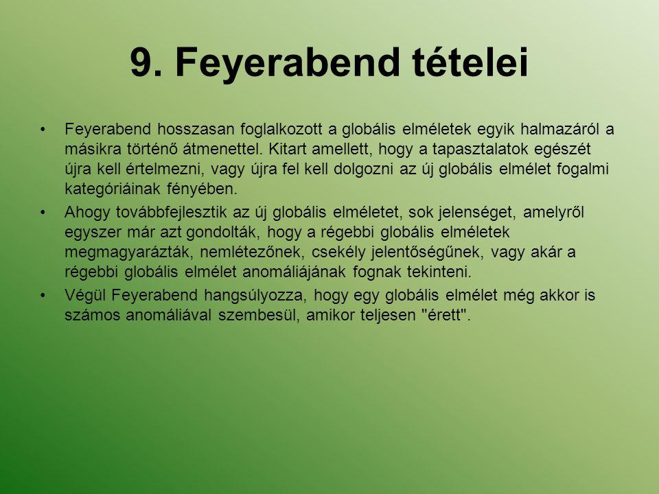9. Feyerabend tételei Feyerabend hosszasan foglalkozott a globális elméletek egyik halmazáról a másikra történő átmenettel. Kitart amellett, hogy a ta