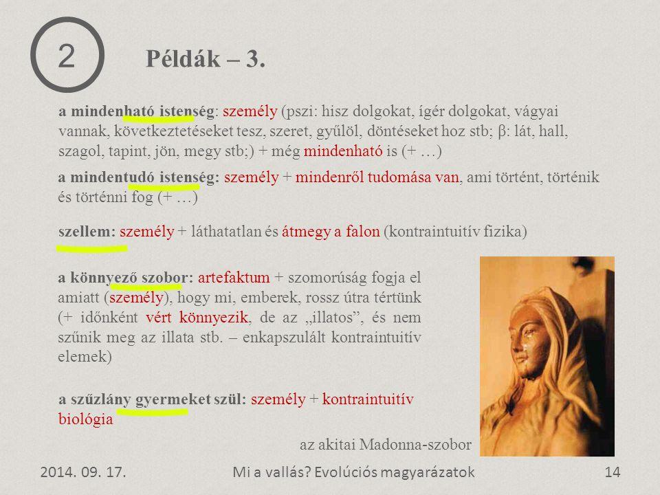 2014. 09. 17.14Mi a vallás? Evolúciós magyarázatok a szűzlány gyermeket szül: személy + kontraintuitív biológia 2 Példák – 3. a mindenható istenség: s