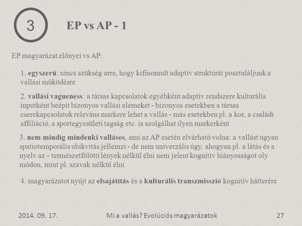 2014. 09. 17.27Mi a vallás? Evolúciós magyarázatok EP magyarázat előnyei vs AP: 3 EP vs AP - 1 1. egyszerű: nincs szükség arra, hogy kifinomult adaptí