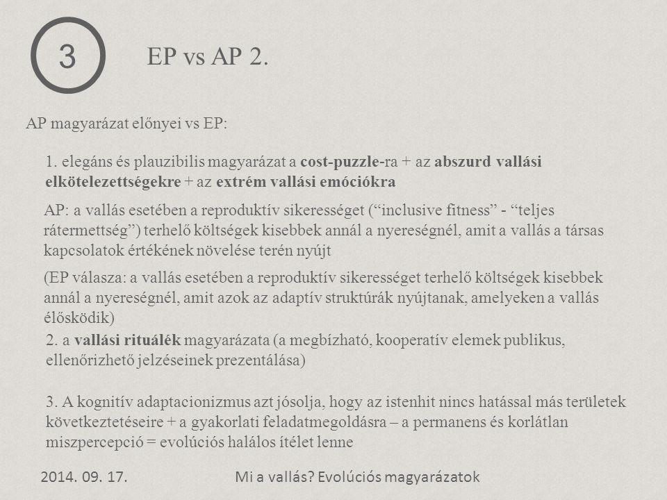 2014. 09. 17.Mi a vallás? Evolúciós magyarázatok AP magyarázat előnyei vs EP: 3 EP vs AP 2. 1. elegáns és plauzibilis magyarázat a cost-puzzle-ra + az