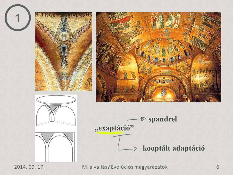 """2014. 09. 17.6Mi a vallás? Evolúciós magyarázatok spandrel """"exaptáció"""" 1 kooptált adaptáció"""