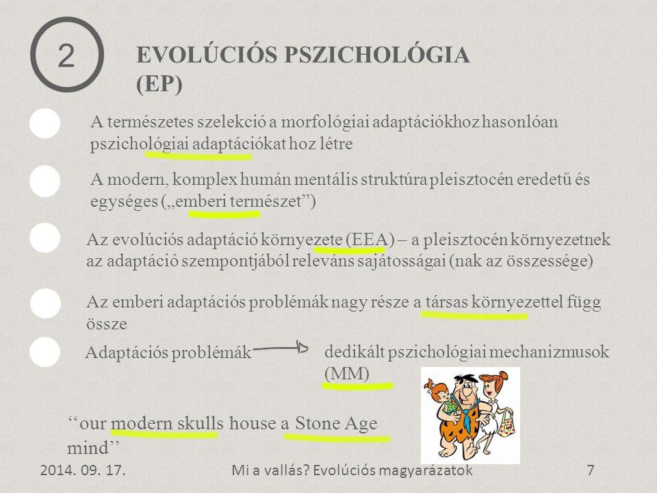 1 EVOLÚCIÓS PSZICHOLÓGIA (EP) 2014. 09. 17.Mi a vallás? Evolúciós magyarázatok7 2 A természetes szelekció a morfológiai adaptációkhoz hasonlóan pszich