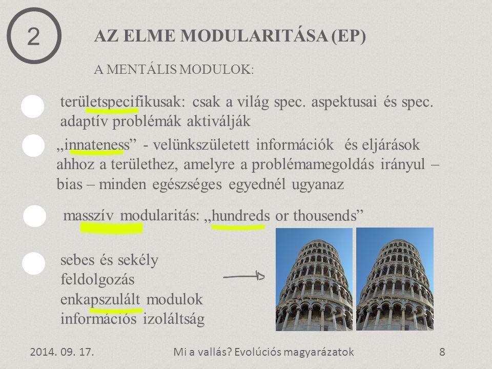 AZ ELME MODULARITÁSA (EP) 2014. 09. 17.Mi a vallás? Evolúciós magyarázatok8 2 területspecifikusak: csak a világ spec. aspektusai és spec. adaptív prob