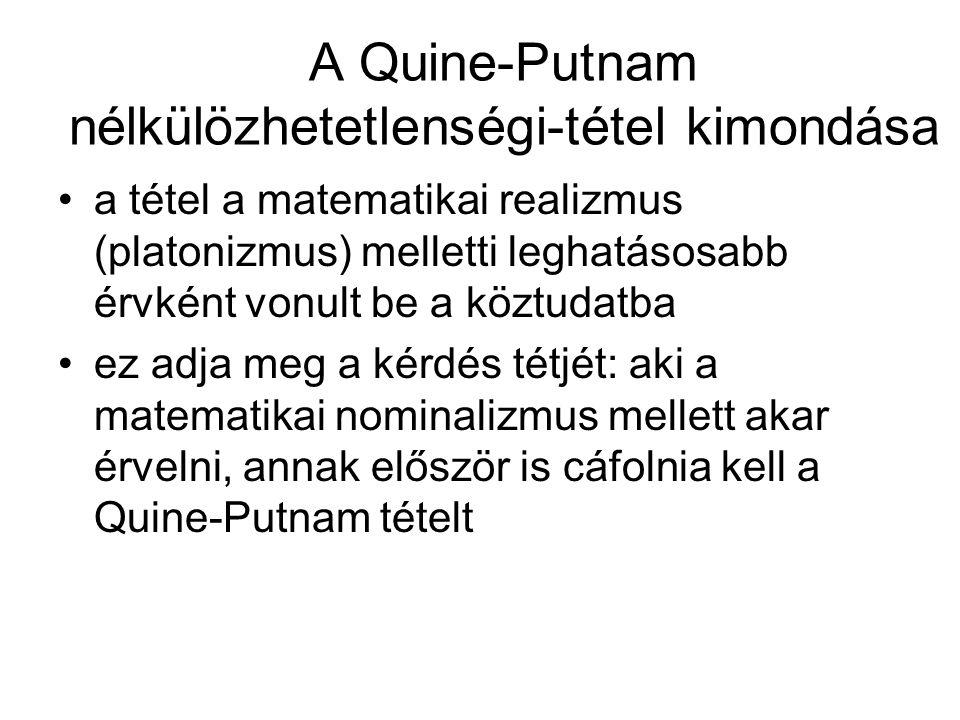 A Quine-Putnam nélkülözhetetlenségi-tétel kimondása a tétel a matematikai realizmus (platonizmus) melletti leghatásosabb érvként vonult be a köztudatba ez adja meg a kérdés tétjét: aki a matematikai nominalizmus mellett akar érvelni, annak először is cáfolnia kell a Quine-Putnam tételt