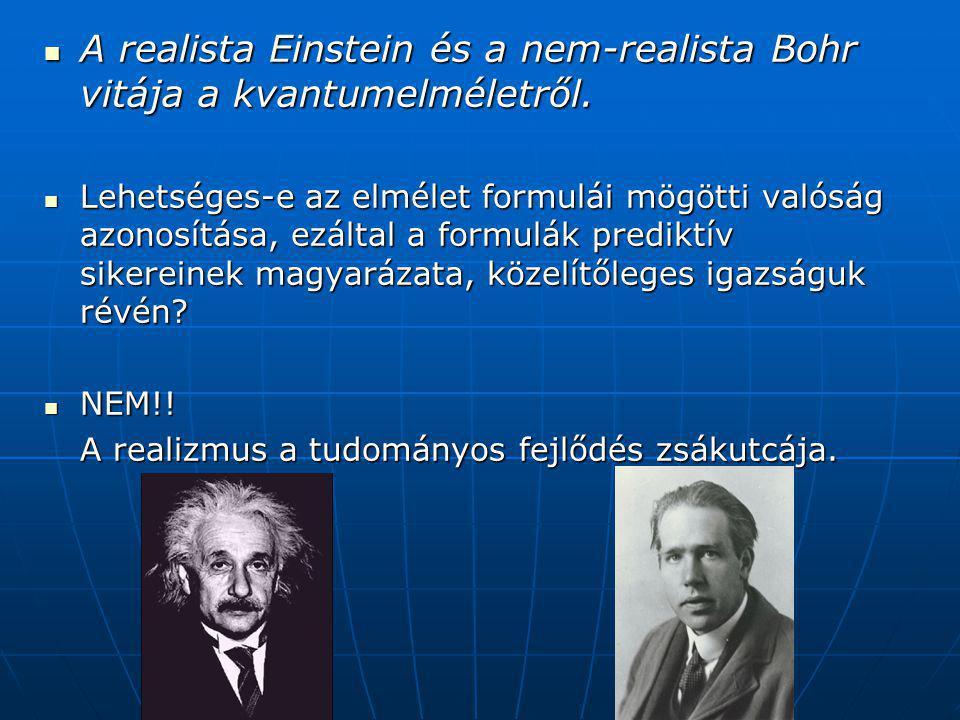 A realista Einstein és a nem-realista Bohr vitája a kvantumelméletről.