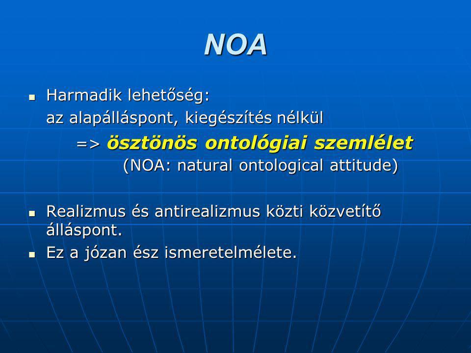 NOA Harmadik lehetőség: Harmadik lehetőség: az alapálláspont, kiegészítés nélkül => ösztönös ontológiai szemlélet (NOA: natural ontological attitude) Realizmus és antirealizmus közti közvetítő álláspont.