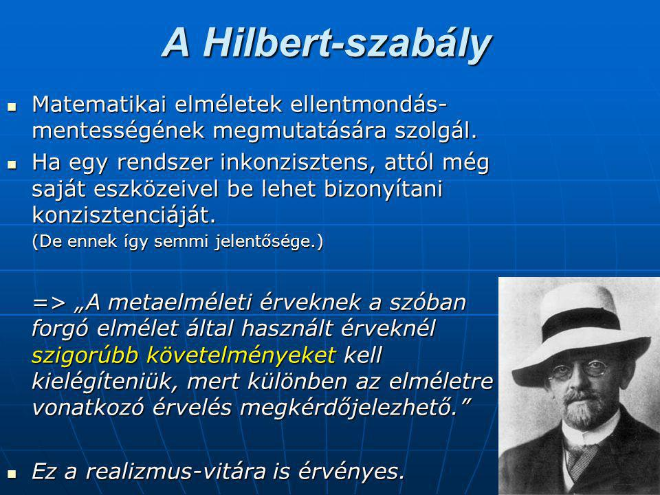 A Hilbert-szabály Matematikai elméletek ellentmondás- mentességének megmutatására szolgál.