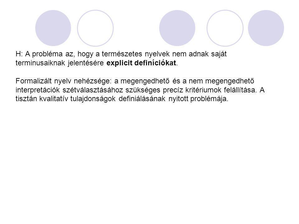 H: A probléma az, hogy a természetes nyelvek nem adnak saját terminusaiknak jelentésére explicit definíciókat.