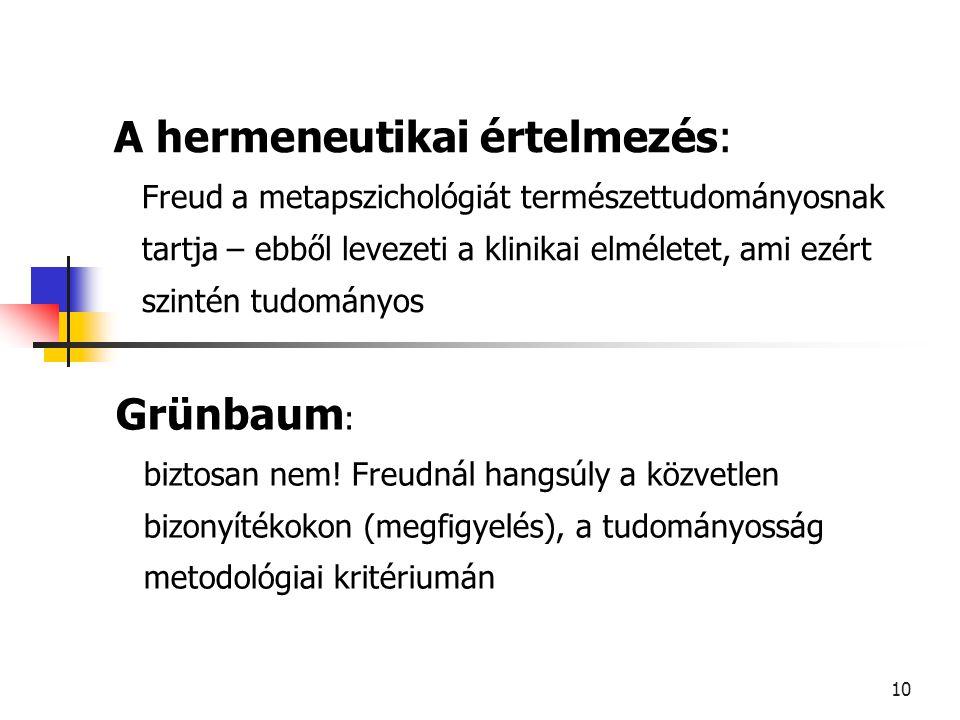 11 GRÜNBAUM : HABERMAS pszichoanalízissel kapcsolatos filozófiájának kritikája I.