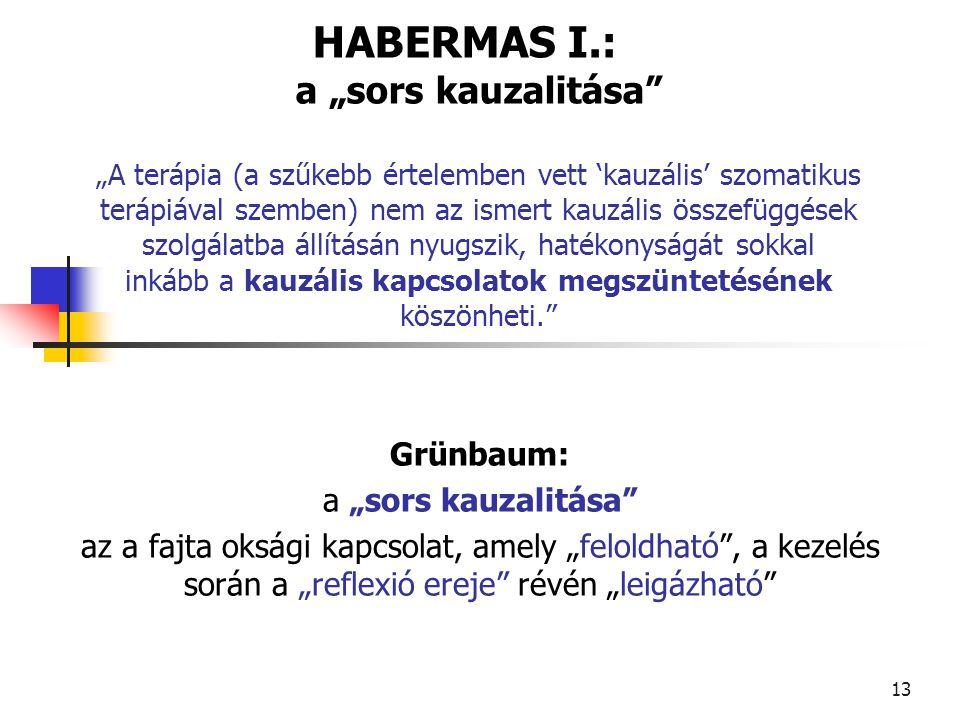 """14 Habermas """"Egy kauzális kapcsolat hipotetikusan mint egy hermeneutikusan érthető jelentéskapcsolat fogalmazódik meg."""