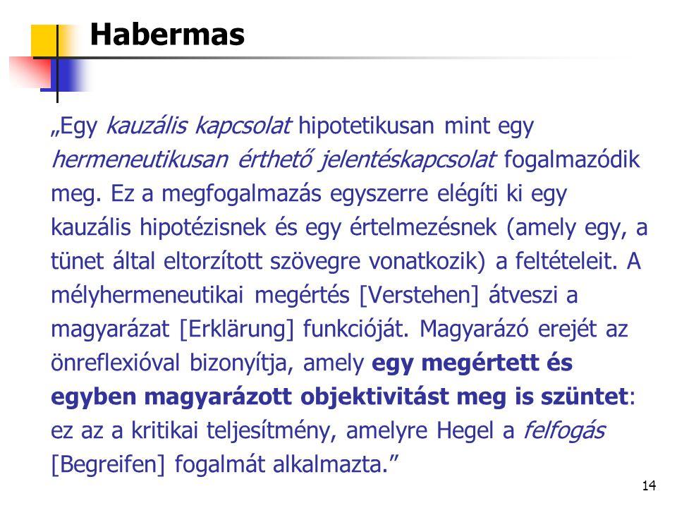 """15 Grünbaum Habermasról az ismétlési kényszeresek terápiájában: """"amikor a neurotikus személy patogén elfojtásainak felszínre hozása révén úrrá lesz az ismétlési kényszer felett, ez a pszichoanalitikus önreflexió valójában 'feloldja' és 'legyőzi' magát az oksági kapcsolatot, amely korábban a patogén tényezőt a kényszeresen ismétlődő viselkedéshez kapcsolta"""