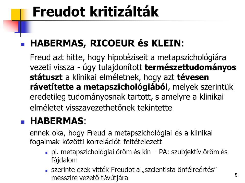 """9 A """"szcientista önfélreértés szcientista, mert bálványimádó módon ruházta fel klinikai elméletét a természettudományos státusszal (kivetítve a metapszichológiából a korrelációkon keresztül) Freud öncélú (és elhibázott) törekvése arra, hogy az elméletét természettudományos státusszal ruházza fel – az elmélet szcientista meghamisítása önfélreértés, mert Freud saját munkájának, a klinikai elméletnek félrekonceptualizálását eredményezte Freud """"hermeneutikus értelmezése"""