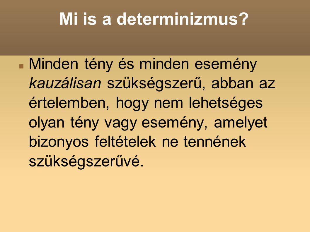 Mi is a determinizmus? Minden tény és minden esemény kauzálisan szükségszerű, abban az értelemben, hogy nem lehetséges olyan tény vagy esemény, amelye