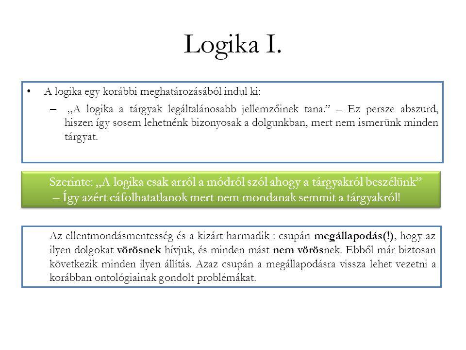 """Logika I. A logika egy korábbi meghatározásából indul ki: – """"A logika a tárgyak legáltalánosabb jellemzőinek tana."""" – Ez persze abszurd, hiszen így so"""