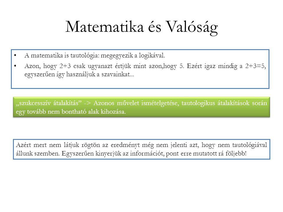 Matematika és Valóság A matematika is tautológia: megegyezik a logikával. Azon, hogy 2+3 csak ugyanazt értjük mint azon,hogy 5. Ezért igaz mindig a 2+