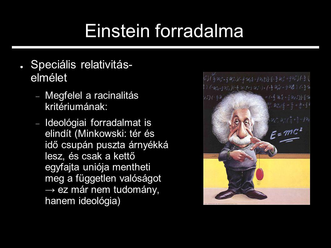 Einstein forradalma ● Speciális relativitás- elmélet  Megfelel a racinalitás kritériumának:  Ideológiai forradalmat is elindít (Minkowski: tér és idő csupán puszta árnyékká lesz, és csak a kettő egyfajta uniója mentheti meg a független valóságot → ez már nem tudomány, hanem ideológia)