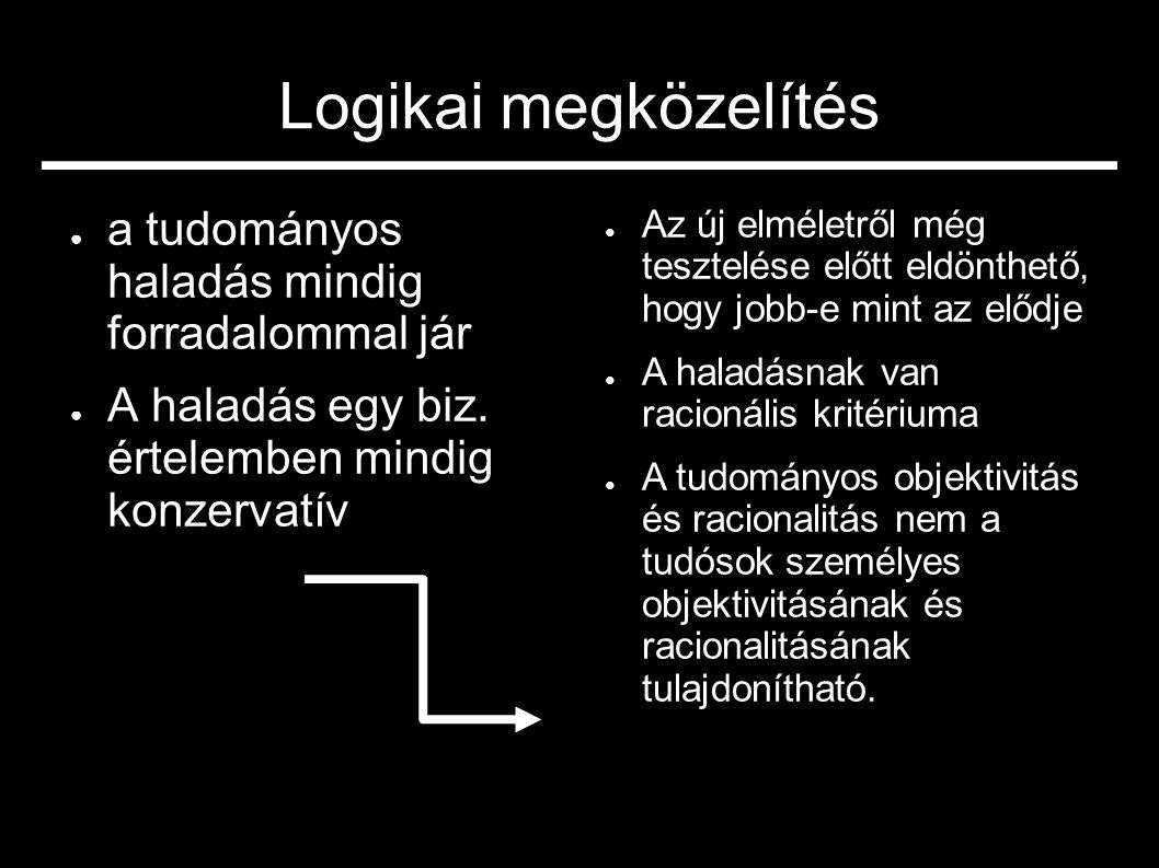 Logikai megközelítés ● a tudományos haladás mindig forradalommal jár ● A haladás egy biz. értelemben mindig konzervatív ● Az új elméletről még tesztel