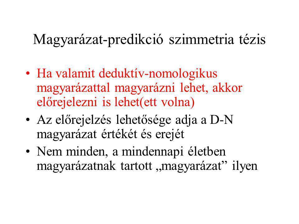 Magyarázat-predikció szimmetria tézis Ha valamit deduktív-nomologikus magyarázattal magyarázni lehet, akkor előrejelezni is lehet(ett volna) Az előrej