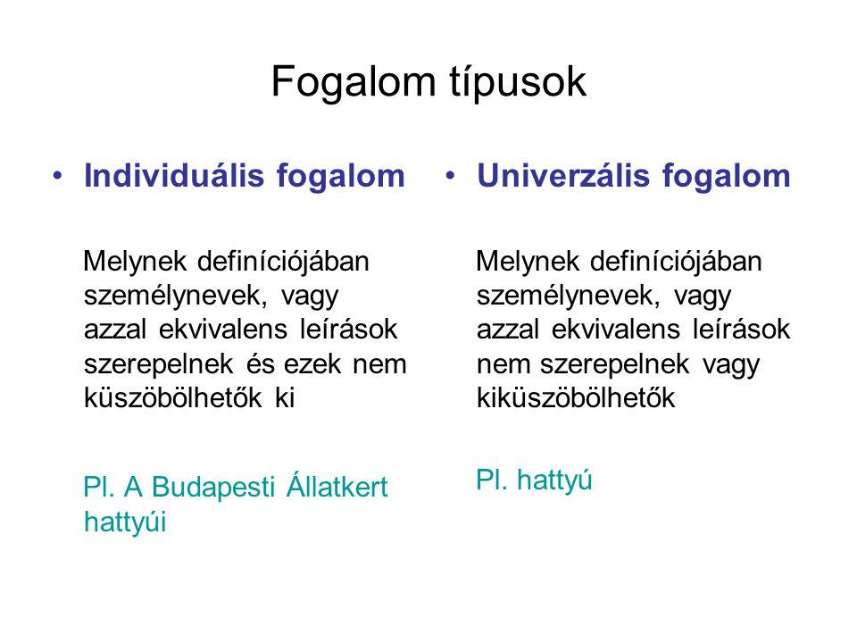 Fogalom típusok Individuális fogalom Melynek definíciójában személynevek, vagy azzal ekvivalens leírások szerepelnek és ezek nem küszöbölhetők ki Pl.