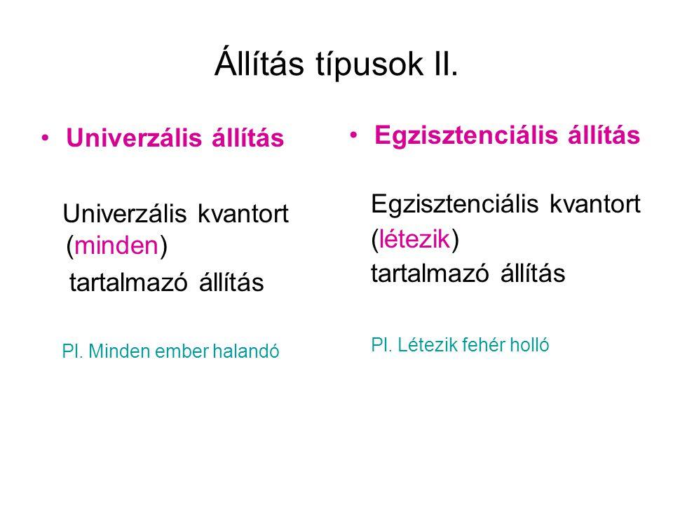 Állítás típusok II. Univerzális állítás Univerzális kvantort (minden) tartalmazó állítás Pl. Minden ember halandó Egzisztenciális állítás Egzisztenciá
