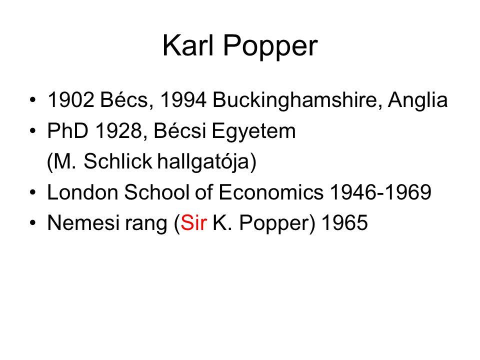 Karl Popper 1902 Bécs, 1994 Buckinghamshire, Anglia PhD 1928, Bécsi Egyetem (M. Schlick hallgatója) London School of Economics 1946-1969 Nemesi rang (