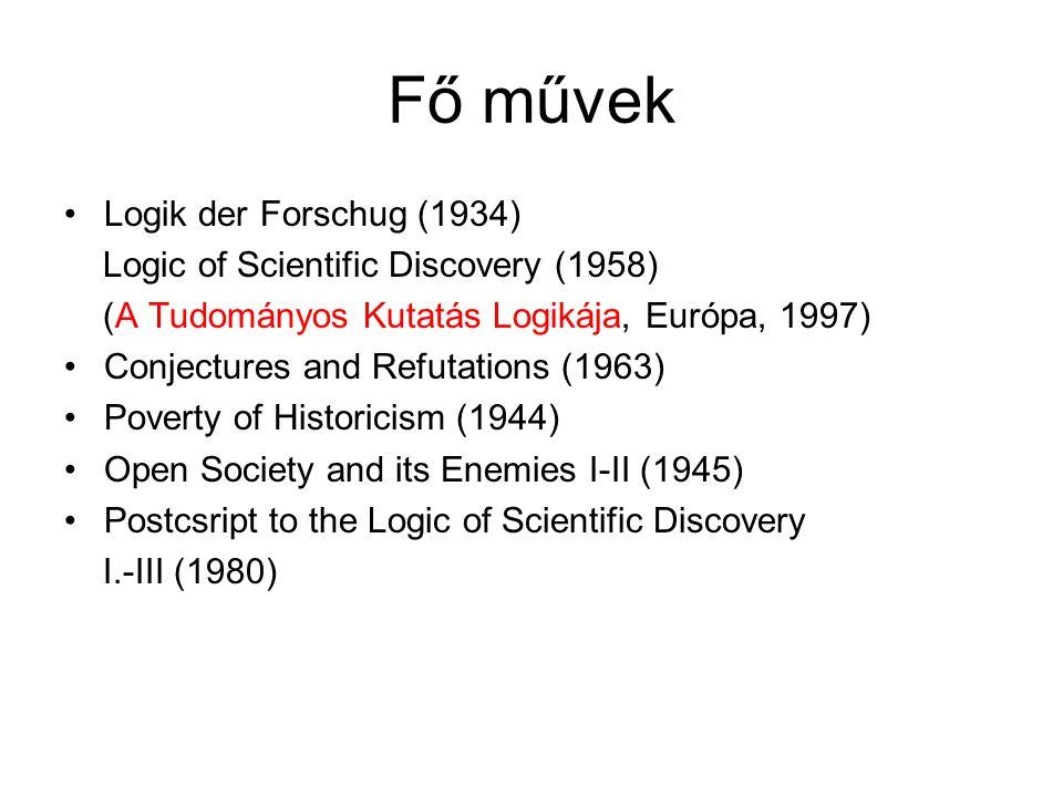 Fő művek Logik der Forschug (1934) Logic of Scientific Discovery (1958) (A Tudományos Kutatás Logikája, Európa, 1997) Conjectures and Refutations (196