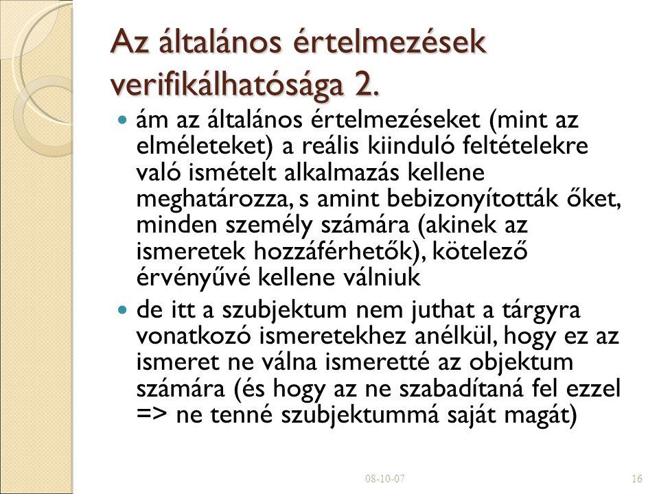Az általános értelmezések verifikálhatósága 2.