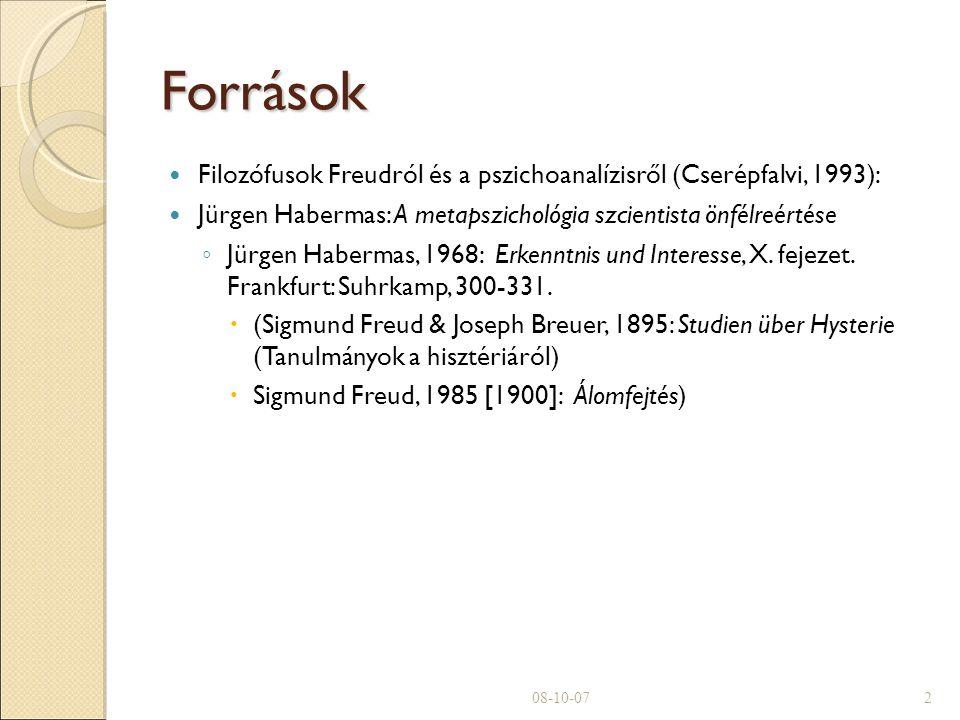 Források Filozófusok Freudról és a pszichoanalízisről (Cserépfalvi, 1993): Jürgen Habermas: A metapszichológia szcientista önfélreértése ◦ Jürgen Habermas, 1968: Erkenntnis und Interesse, X.