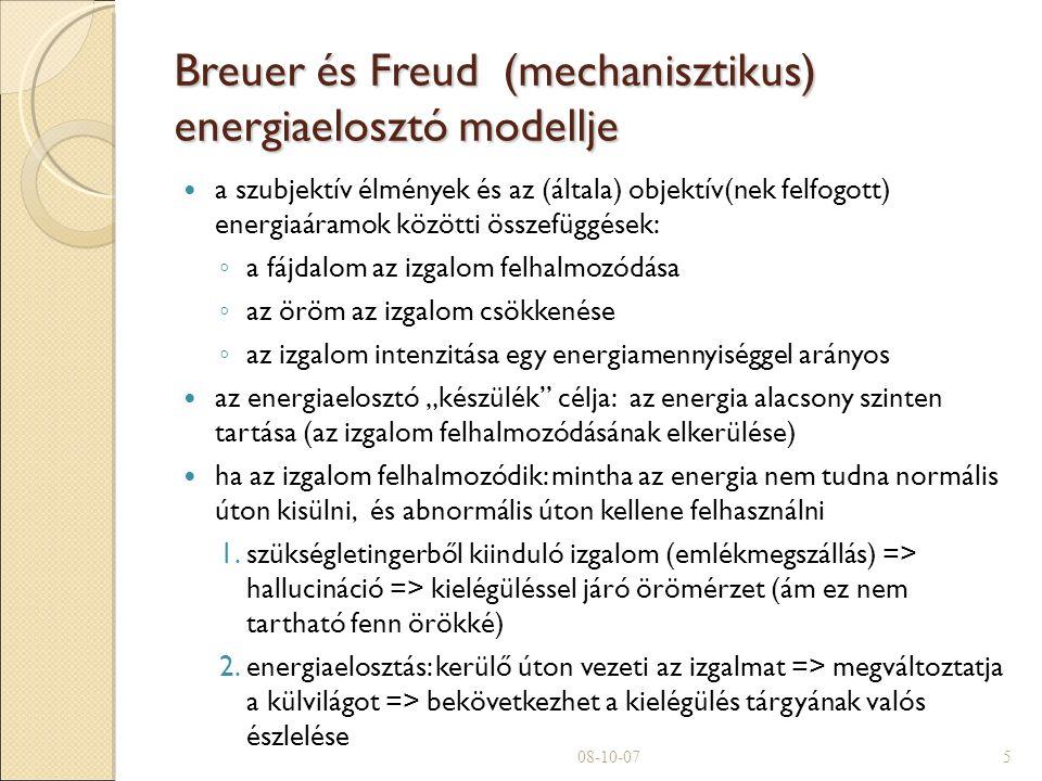 """Breuer és Freud (mechanisztikus) energiaelosztó modellje a szubjektív élmények és az (általa) objektív(nek felfogott) energiaáramok közötti összefüggések: ◦ a fájdalom az izgalom felhalmozódása ◦ az öröm az izgalom csökkenése ◦ az izgalom intenzitása egy energiamennyiséggel arányos az energiaelosztó """"készülék célja: az energia alacsony szinten tartása (az izgalom felhalmozódásának elkerülése)  ha az izgalom felhalmozódik: mintha az energia nem tudna normális úton kisülni, és abnormális úton kellene felhasználni 1.szükségletingerből kiinduló izgalom (emlékmegszállás) => hallucináció => kielégüléssel járó örömérzet (ám ez nem tartható fenn örökké)  2.energiaelosztás: kerülő úton vezeti az izgalmat => megváltoztatja a külvilágot => bekövetkezhet a kielégülés tárgyának valós észlelése 08-10-075"""