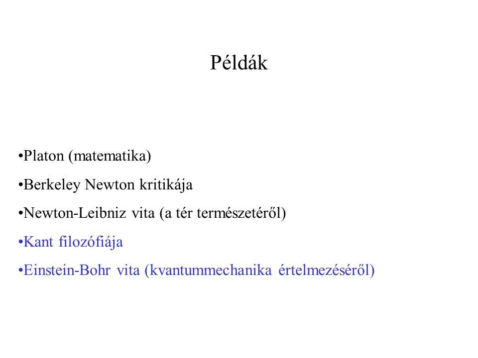 Példák Platon (matematika) Berkeley Newton kritikája Newton-Leibniz vita (a tér természetéről) Kant filozófiája Einstein-Bohr vita (kvantummechanika értelmezéséről)