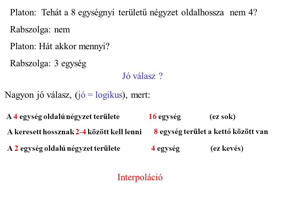 Platon: A rabszolga második válasza is hibás: Oldalhossz: 3 egység Terület: 9 egység