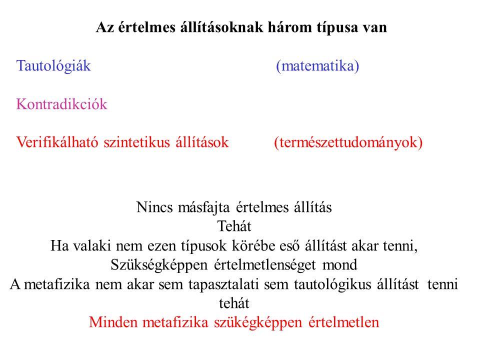 Az értelmes állításoknak három típusa van Tautológiák (matematika) Kontradikciók Verifikálható szintetikus állítások (természettudományok) Nincs másfa
