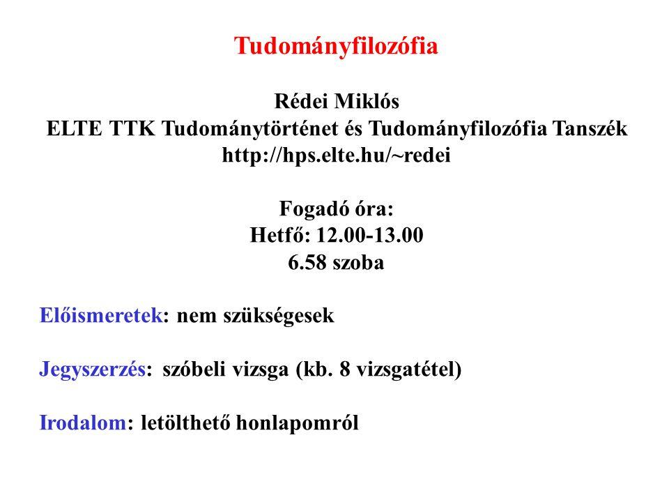 Tudományfilozófia Rédei Miklós ELTE TTK Tudománytörténet és Tudományfilozófia Tanszék http://hps.elte.hu/~redei Fogadó óra: Hetfő: 12.00-13.00 6.58 sz