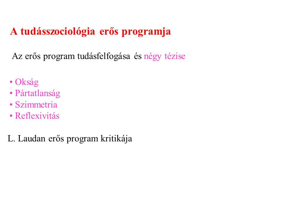 A tudásszociológia erős programja Az erős program tudásfelfogása és négy tézise Okság Pártatlanság Szimmetria Reflexivitás L. Laudan erős program krit