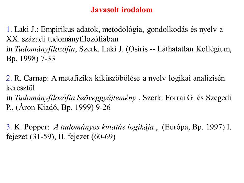 Javasolt irodalom 1. Laki J.: Empirikus adatok, metodológia, gondolkodás és nyelv a XX. századi tudományfilozófiában in Tudományfilozófia, Szerk. Laki