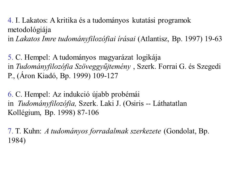 4. I. Lakatos: A kritika és a tudományos kutatási programok metodológiája in Lakatos Imre tudományfilozófiai írásai (Atlantisz, Bp. 1997) 19-63 5. C.